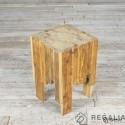 Recyklingowy stołek ze starych desek No.160 - naturalny