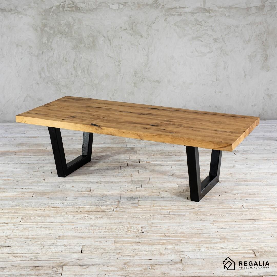 Stół ze starego drewna na podstawie z profili No. 428