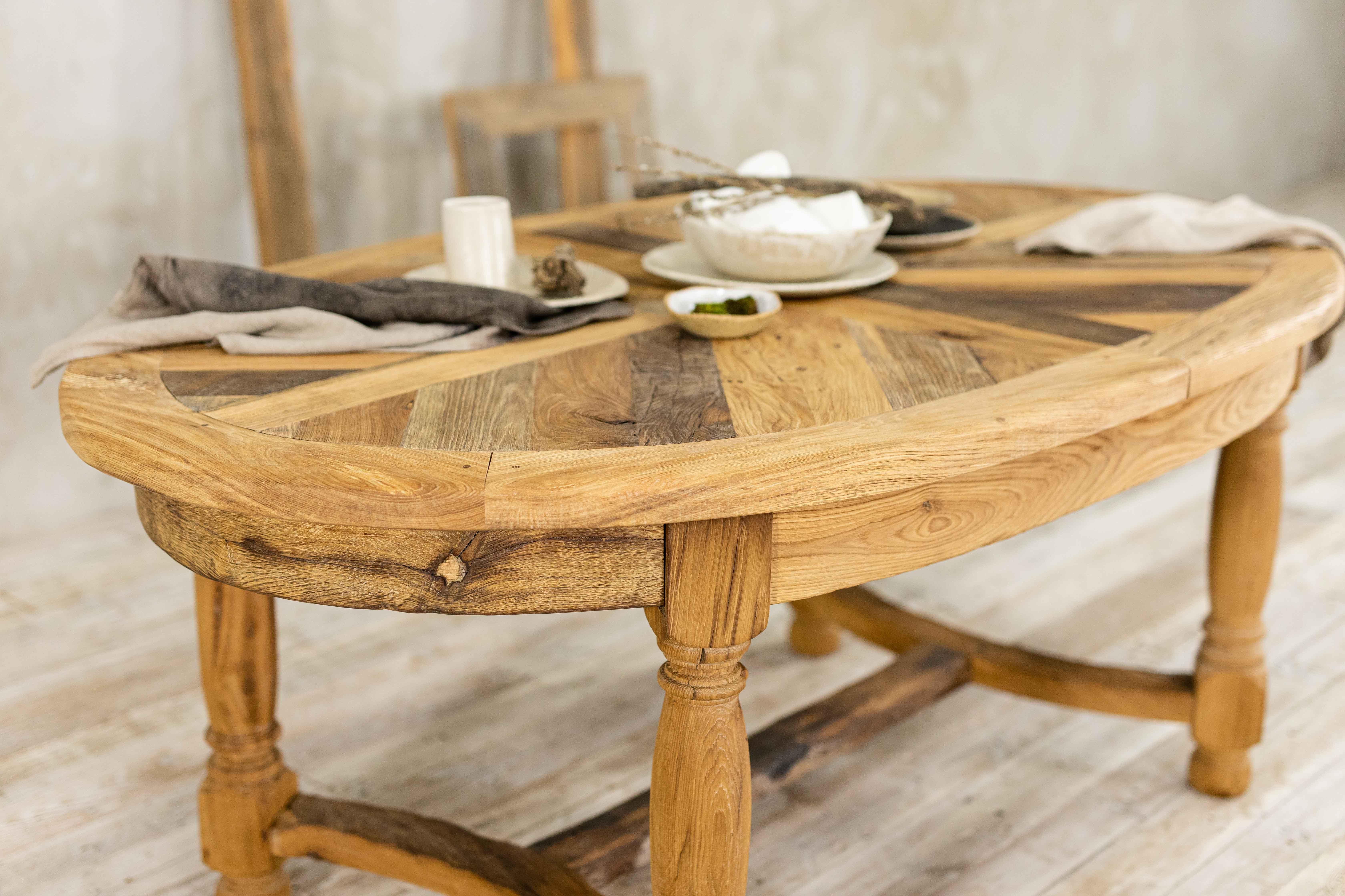 Stół dębowy mozaikowy ze starego drewna - No. 468
